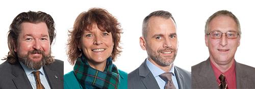 Das Atradius-Team für das Henrich Baustoffzentrum (v. l.): Rainer Knappe, Rita Klein, Frank Lüders und Uwe Barth